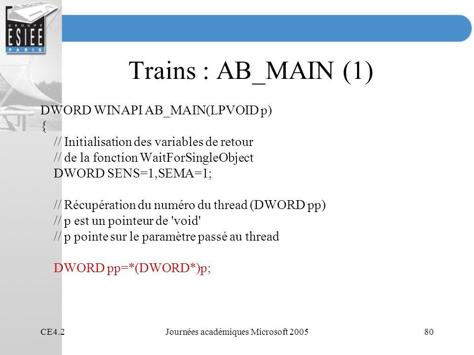 CE4.2Journées académiques Microsoft 200580 Trains : AB_MAIN (1) DWORD WINAPI AB_MAIN(LPVOID p) { // Initialisation des variables de retour // de la fonction WaitForSingleObject DWORD SENS=1,SEMA=1; // Récupération du numéro du thread (DWORD pp) // p est un pointeur de void // p pointe sur le paramètre passé au thread DWORD pp=*(DWORD*)p;