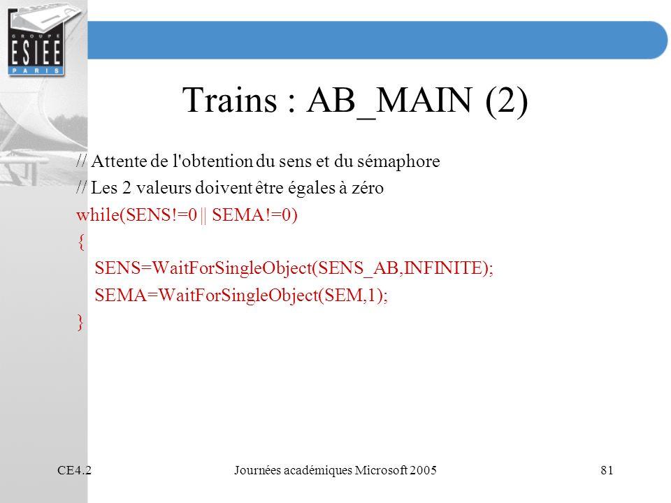CE4.2Journées académiques Microsoft 200581 Trains : AB_MAIN (2) // Attente de l obtention du sens et du sémaphore // Les 2 valeurs doivent être égales à zéro while(SENS!=0 || SEMA!=0) { SENS=WaitForSingleObject(SENS_AB,INFINITE); SEMA=WaitForSingleObject(SEM,1); }