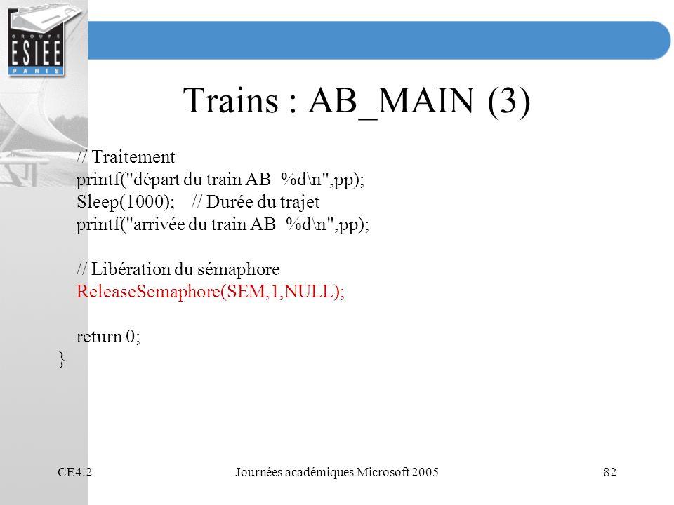 CE4.2Journées académiques Microsoft 200582 Trains : AB_MAIN (3) // Traitement printf( départ du train AB %d\n ,pp); Sleep(1000); // Durée du trajet printf( arrivée du train AB %d\n ,pp); // Libération du sémaphore ReleaseSemaphore(SEM,1,NULL); return 0; }