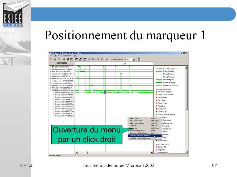 CE4.2Journées académiques Microsoft 200597 Positionnement du marqueur 1 Ouverture du menu par un click droit