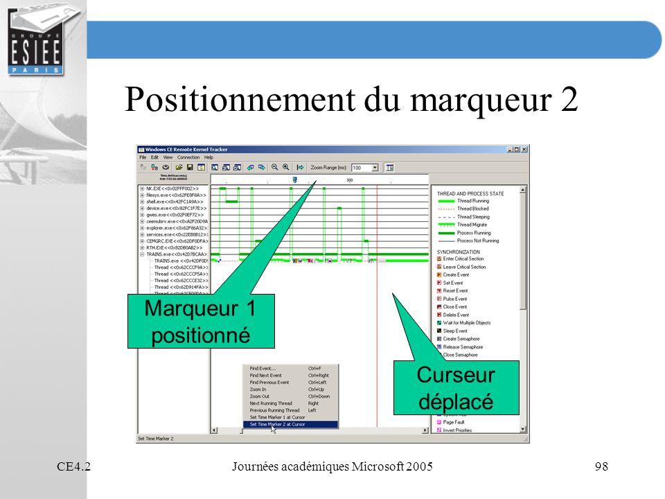 CE4.2Journées académiques Microsoft 200598 Positionnement du marqueur 2 Marqueur 1 positionné Curseur déplacé