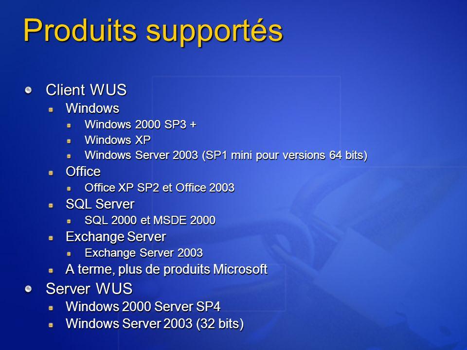 Produits supportés Client WUS Windows Windows 2000 SP3 + Windows XP Windows Server 2003 (SP1 mini pour versions 64 bits) Office Office XP SP2 et Offic
