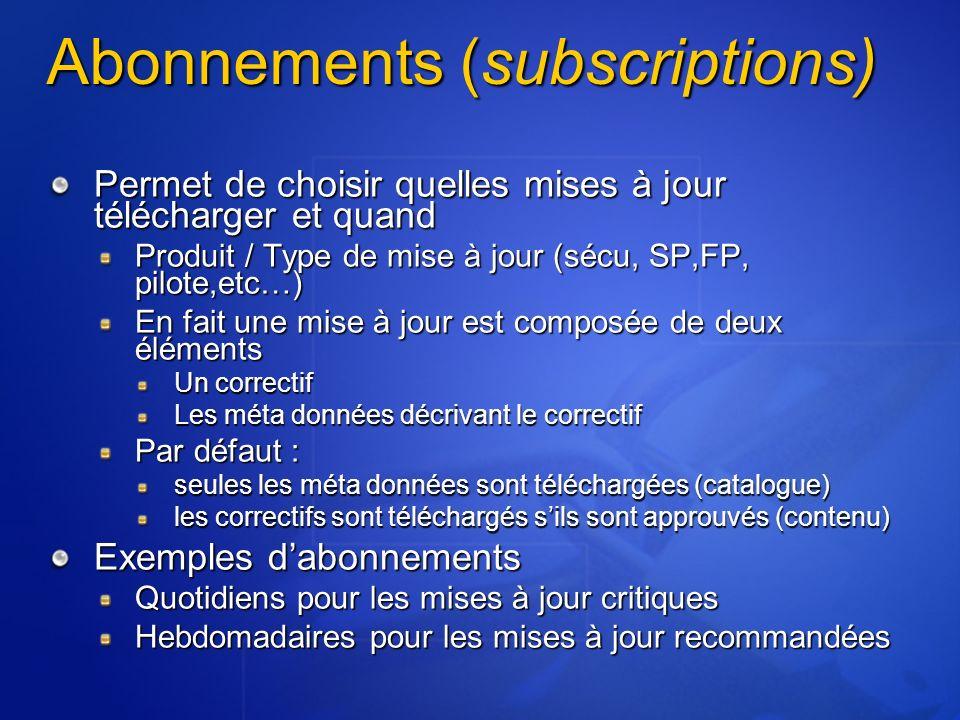 Abonnements (subscriptions) Permet de choisir quelles mises à jour télécharger et quand Produit / Type de mise à jour (sécu, SP,FP, pilote,etc…) En fa