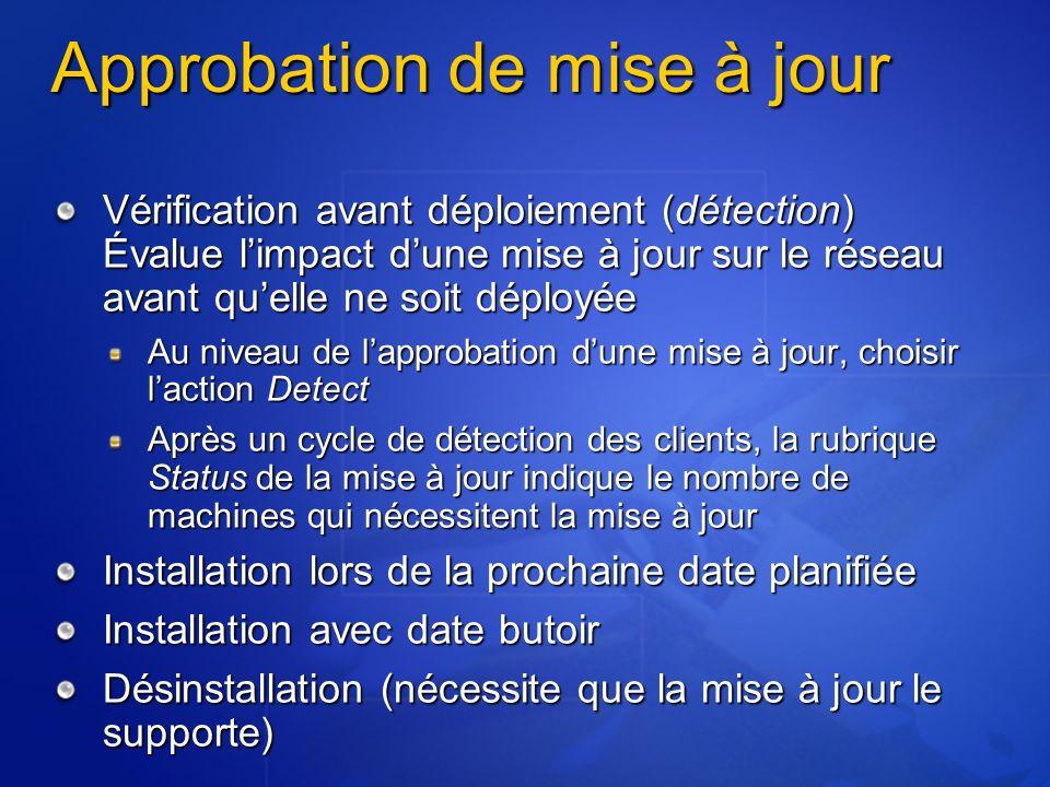 Approbation de mise à jour Vérification avant déploiement (détection) Évalue limpact dune mise à jour sur le réseau avant quelle ne soit déployée Au n