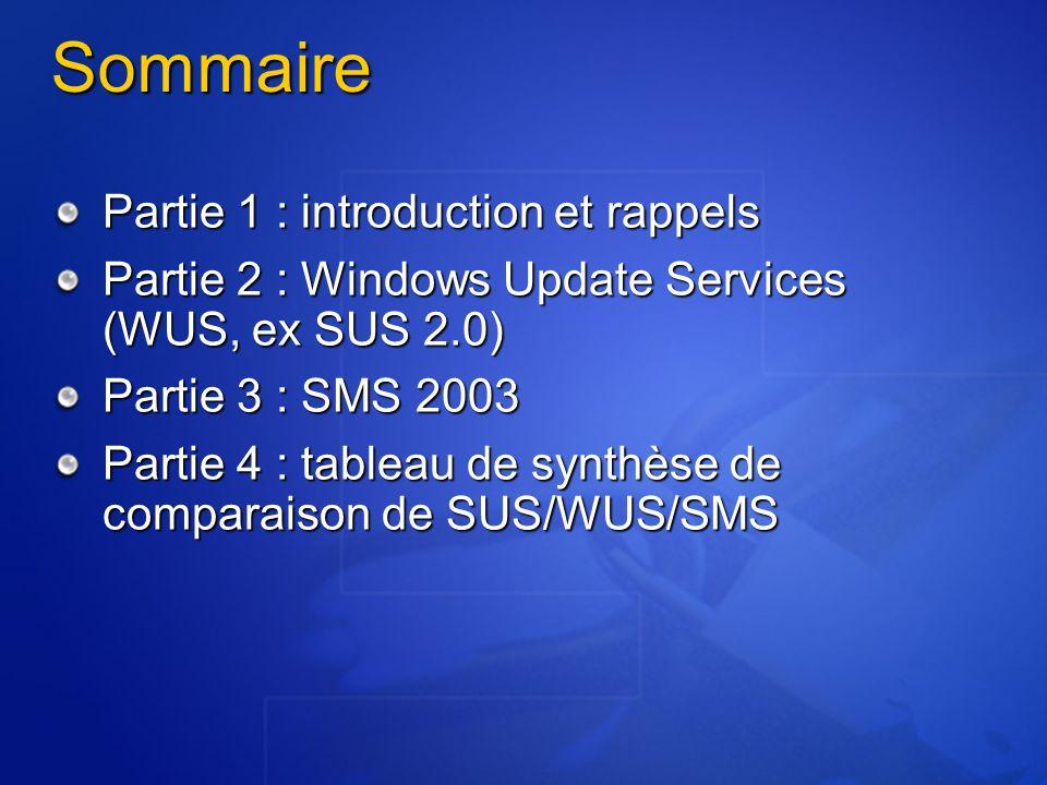 Sommaire Partie 1 : introduction et rappels Partie 2 : Windows Update Services (WUS, ex SUS 2.0) Partie 3 : SMS 2003 Partie 4 : tableau de synthèse de