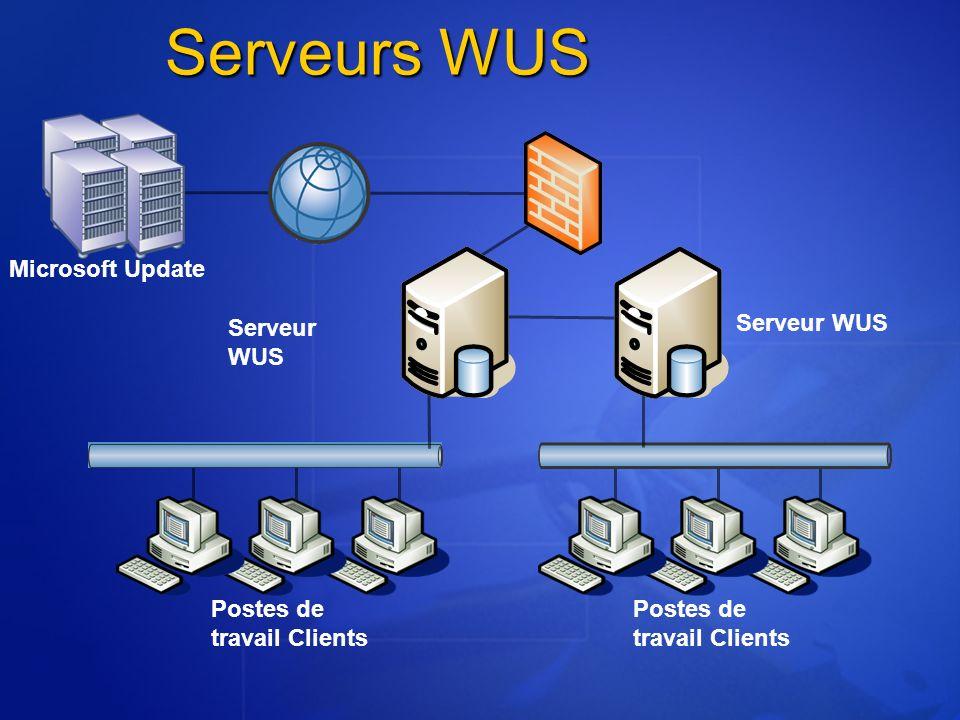 Postes de travail Clients Serveurs WUS Microsoft Update Serveur WUS