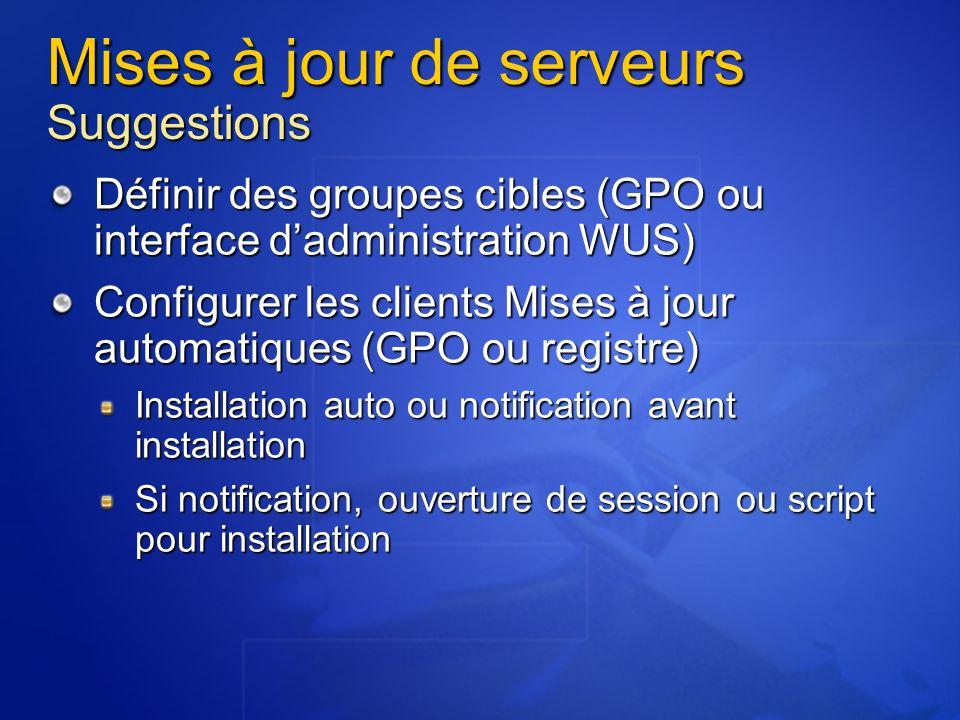 Mises à jour de serveurs Suggestions Définir des groupes cibles (GPO ou interface dadministration WUS) Configurer les clients Mises à jour automatique