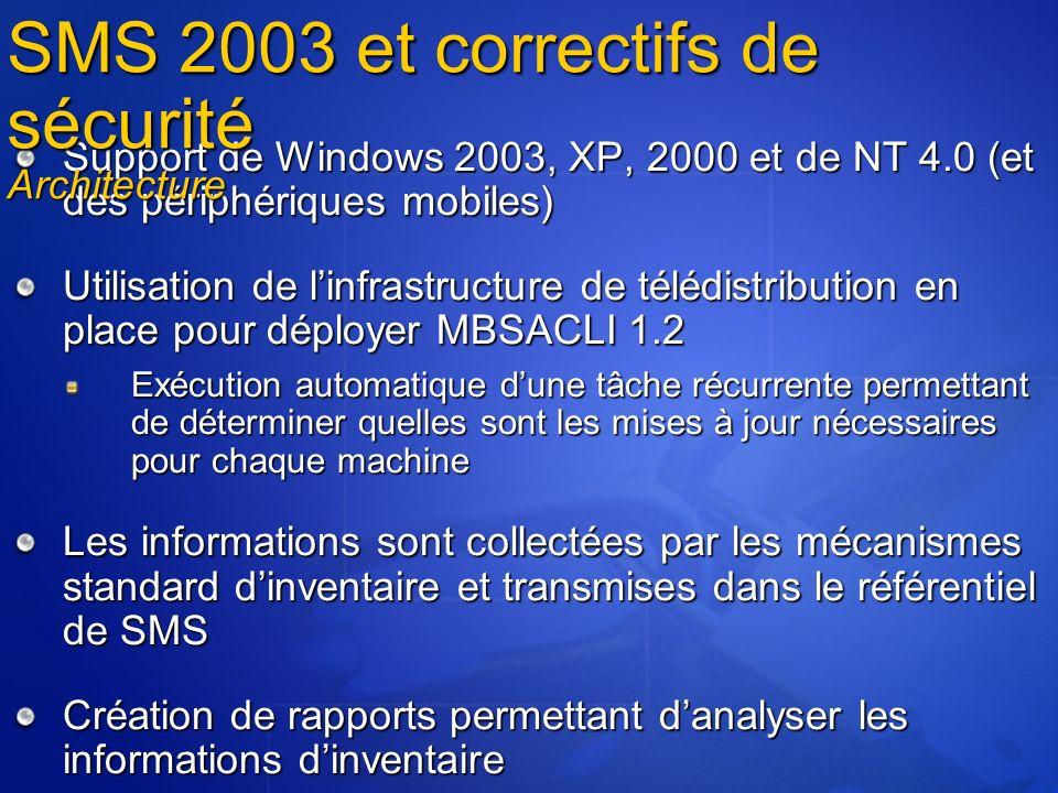 Support de Windows 2003, XP, 2000 et de NT 4.0 (et des périphériques mobiles) Utilisation de linfrastructure de télédistribution en place pour déploye