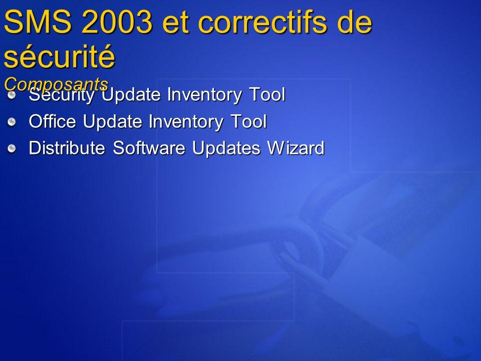 Security Update Inventory Tool Office Update Inventory Tool Distribute Software Updates Wizard SMS 2003 et correctifs de sécurité Composants