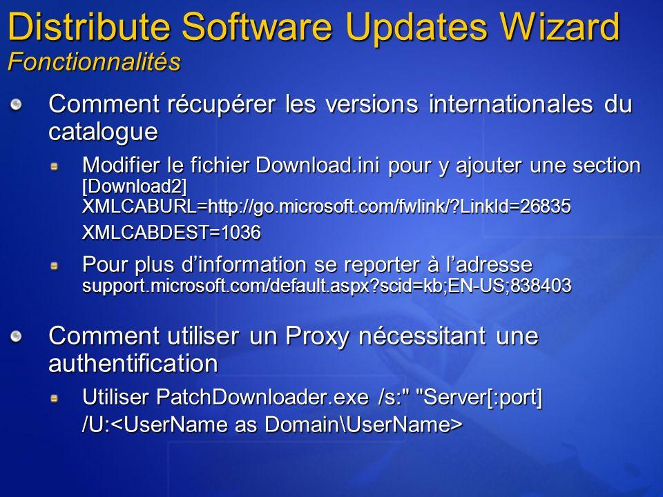 Comment récupérer les versions internationales du catalogue Modifier le fichier Download.ini pour y ajouter une section [Download2] XMLCABURL=http://g