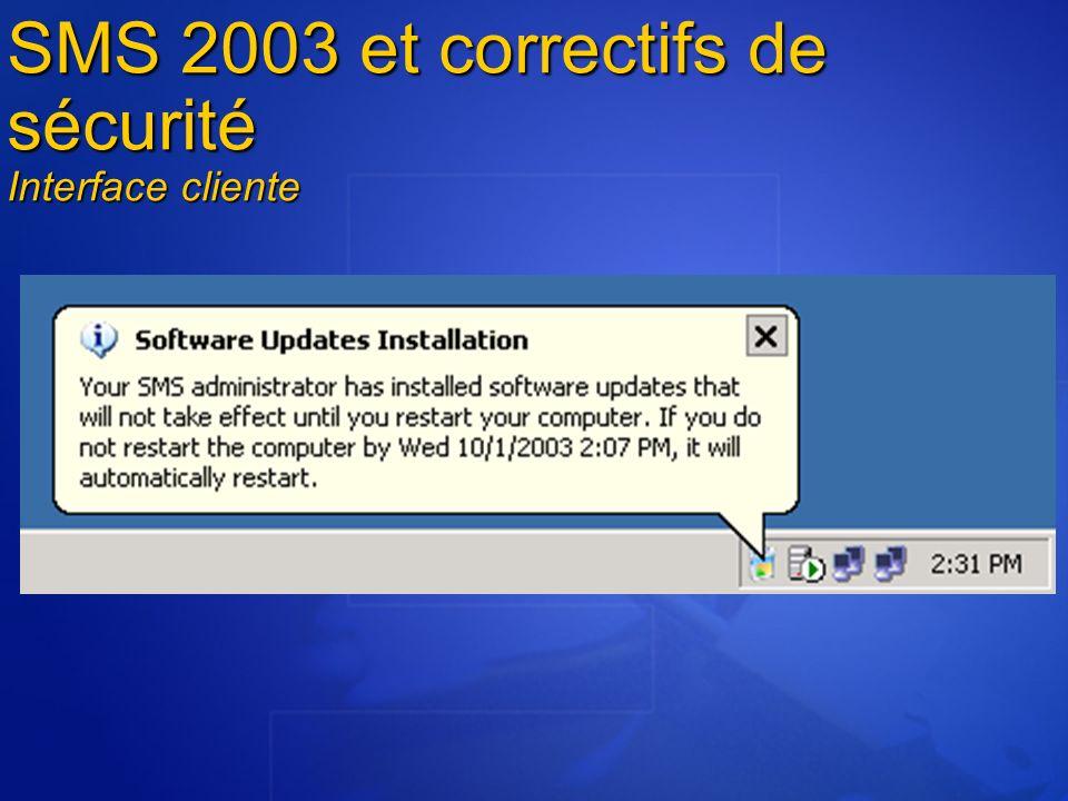 SMS 2003 et correctifs de sécurité Conformité du parc