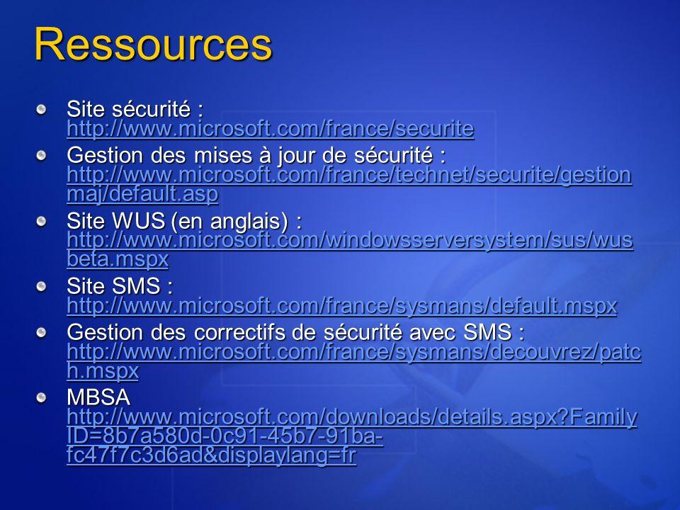 Ressources Site sécurité : http://www.microsoft.com/france/securite http://www.microsoft.com/france/securite Gestion des mises à jour de sécurité : ht