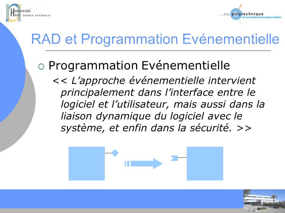 CC RAD et Programmation Evénementielle Programmation Evénementielle >