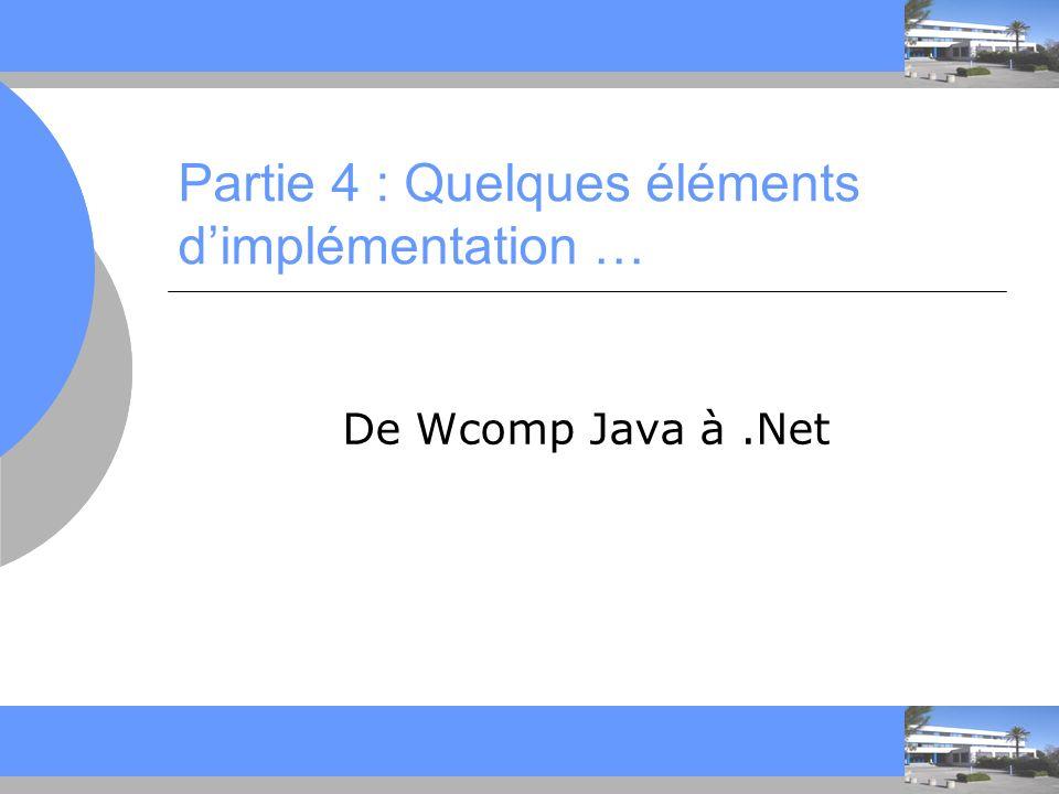 C C Partie 4 : Quelques éléments dimplémentation … De Wcomp Java à.Net