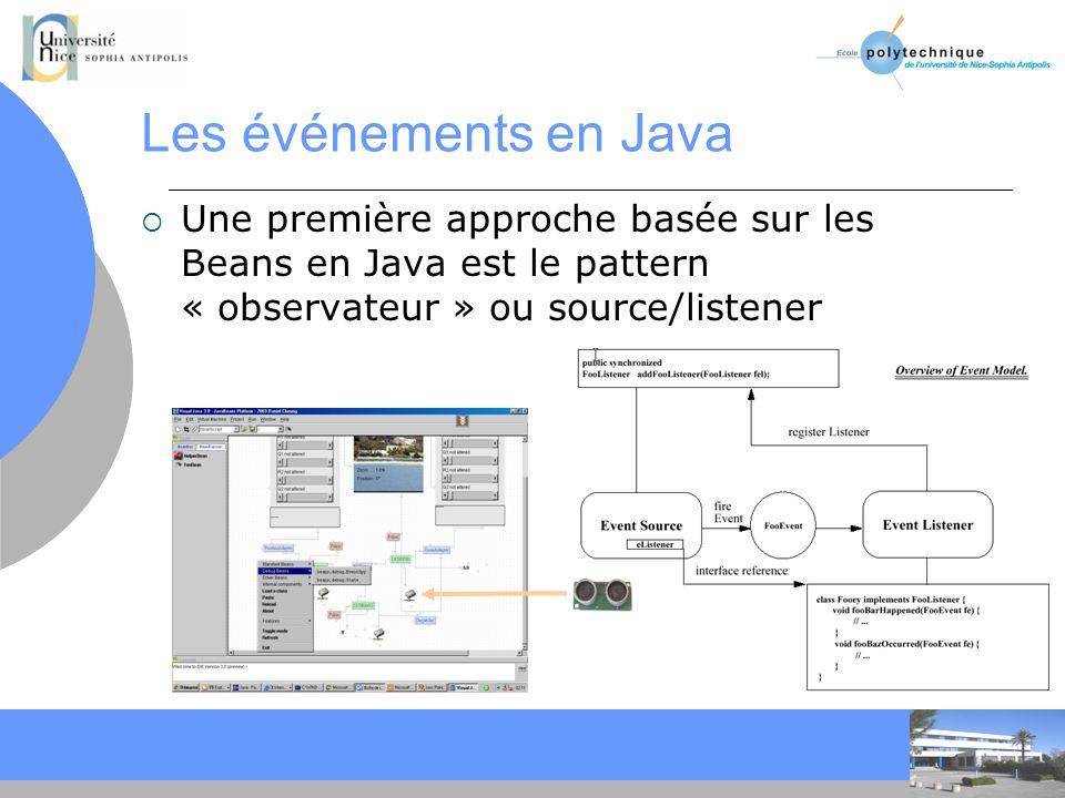 CC Les événements en Java Une première approche basée sur les Beans en Java est le pattern « observateur » ou source/listener