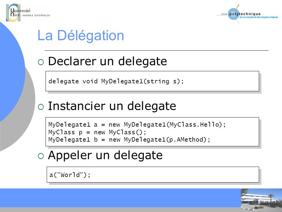 CC La Délégation Declarer un delegate Instancier un delegate Appeler un delegate delegate void MyDelegate1(string s); MyDelegate1 a = new MyDelegate1(MyClass.Hello); MyClass p = new MyClass(); MyDelegate1 b = new MyDelegate1(p.AMethod); MyDelegate1 a = new MyDelegate1(MyClass.Hello); MyClass p = new MyClass(); MyDelegate1 b = new MyDelegate1(p.AMethod); a( World );