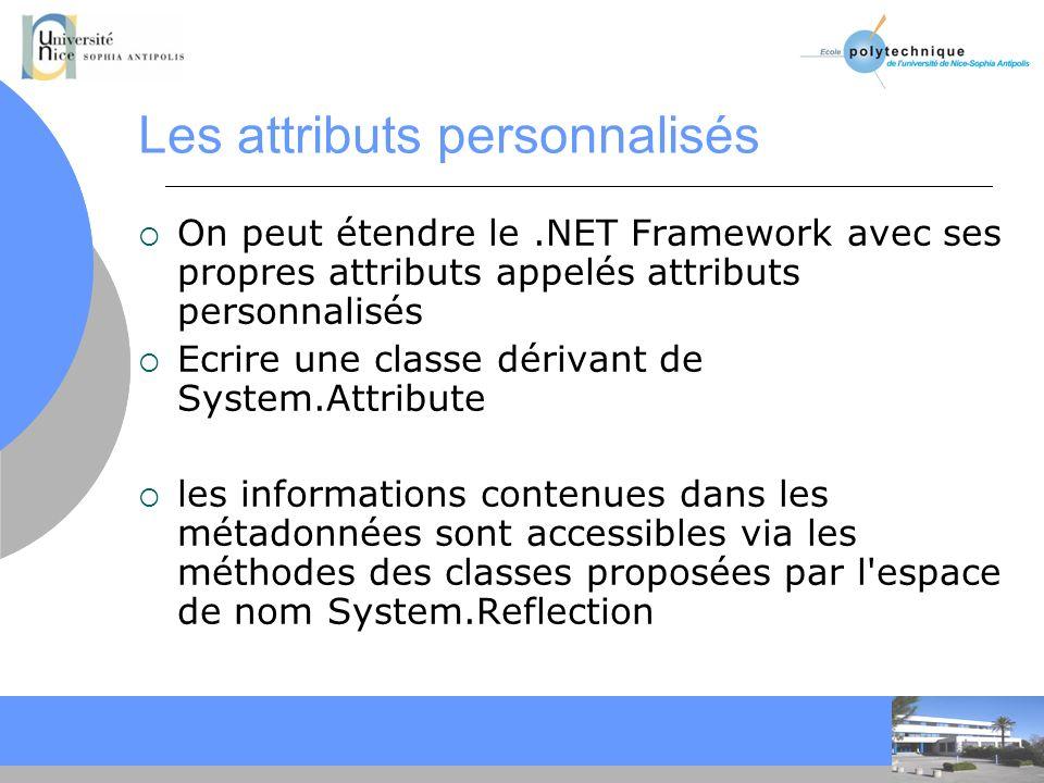 CC Les attributs personnalisés On peut étendre le.NET Framework avec ses propres attributs appelés attributs personnalisés Ecrire une classe dérivant de System.Attribute les informations contenues dans les métadonnées sont accessibles via les méthodes des classes proposées par l espace de nom System.Reflection