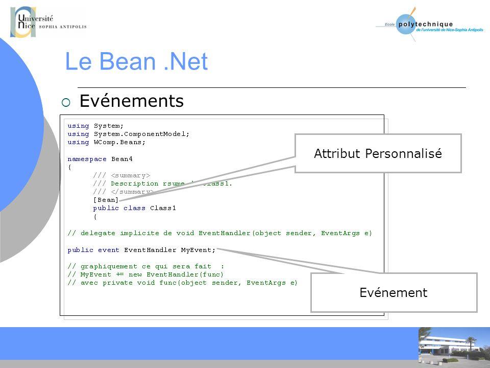 CC Le Bean.Net Evénements Attribut Personnalisé Evénement