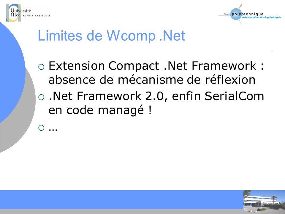 CC Limites de Wcomp.Net Extension Compact.Net Framework : absence de mécanisme de réflexion.Net Framework 2.0, enfin SerialCom en code managé .