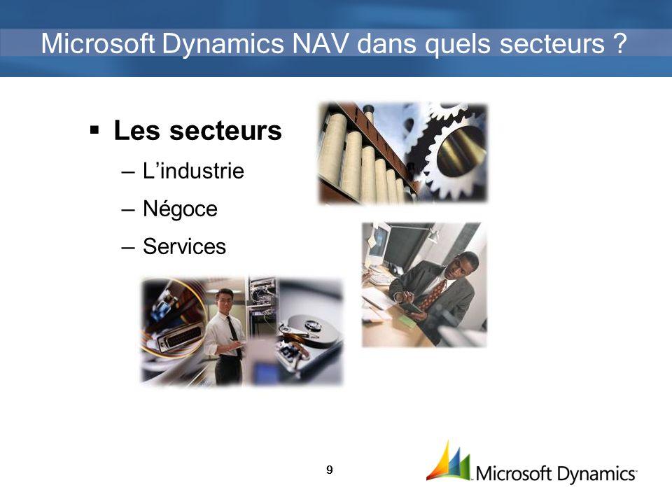 9 Microsoft Dynamics NAV dans quels secteurs ? Les secteurs Lindustrie Négoce Services