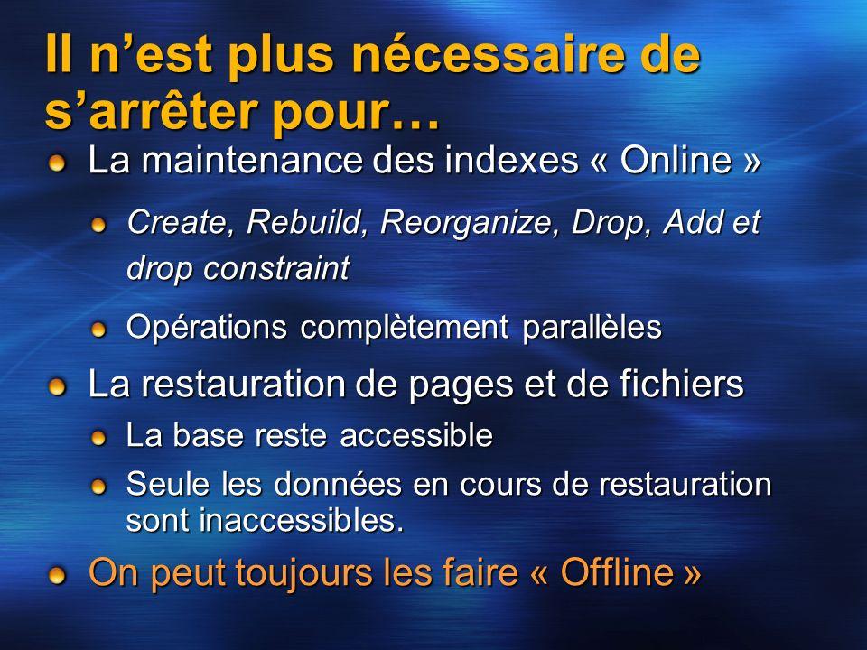 Il nest plus nécessaire de sarrêter pour… La maintenance des indexes « Online » Create, Rebuild, Reorganize, Drop, Add et drop constraint Opérations c
