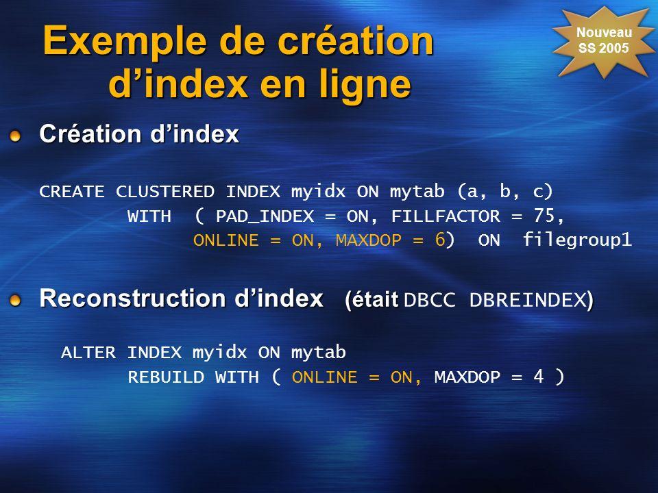 Exemple de création dindex en ligne Création dindex CREATE CLUSTERED INDEX myidx ON mytab (a, b, c) WITH ( PAD_INDEX = ON, FILLFACTOR = 75, ONLINE = O