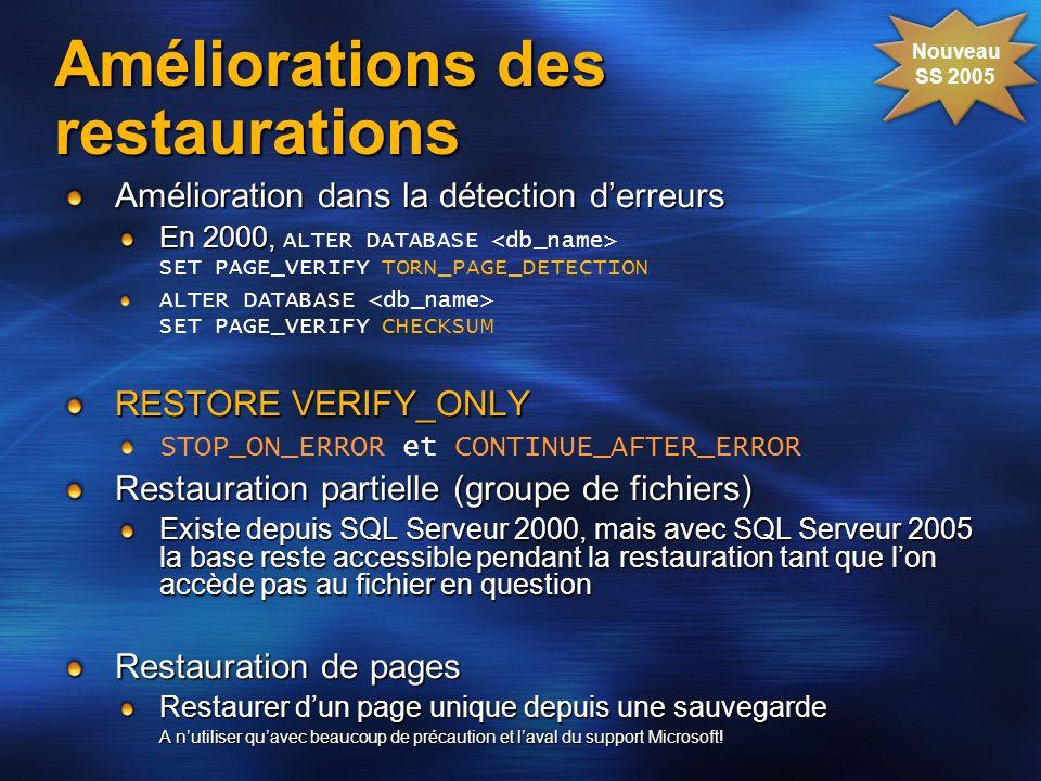 Améliorations des restaurations Amélioration dans la détection derreurs En 2000, En 2000, ALTER DATABASE SET PAGE_VERIFY TORN_PAGE_DETECTION ALTER DAT