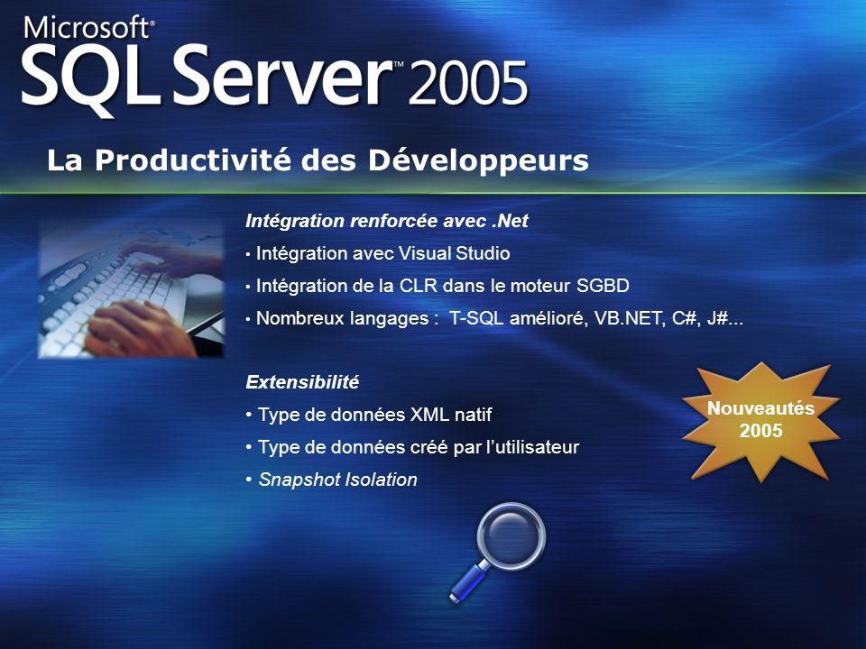 Intégration renforcée avec.Net Intégration avec Visual Studio Intégration de la CLR dans le moteur SGBD Nombreux langages : T-SQL amélioré, VB.NET, C#