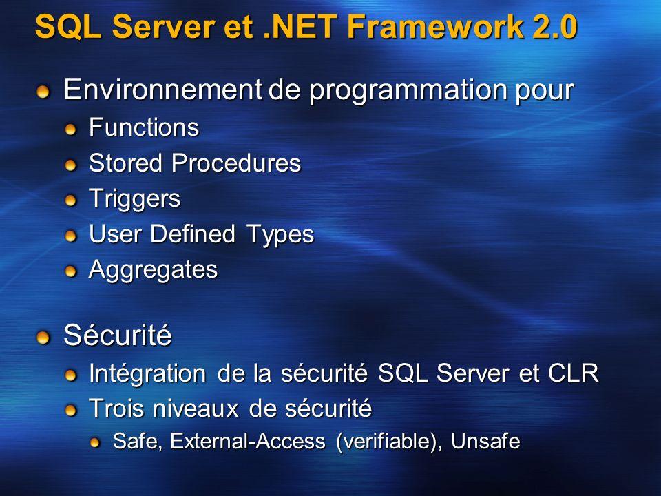 SQL Server et.NET Framework 2.0 Environnement de programmation pour Functions Stored Procedures Triggers User Defined Types AggregatesSécurité Intégra