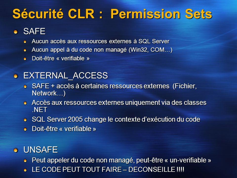 Sécurité CLR : Permission Sets SAFE Aucun accès aux ressources externes à SQL Server Aucun appel à du code non managé (Win32, COM…) Doit-être « verifi