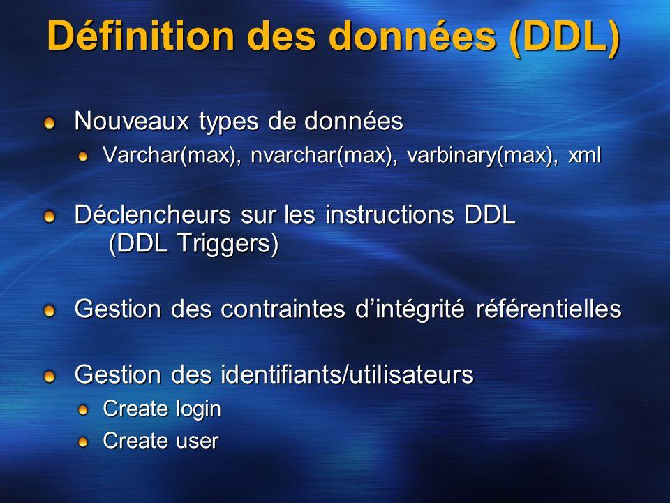 Définition des données (DDL) Nouveaux types de données Varchar(max), nvarchar(max), varbinary(max), xml Déclencheurs sur les instructions DDL (DDL Tri