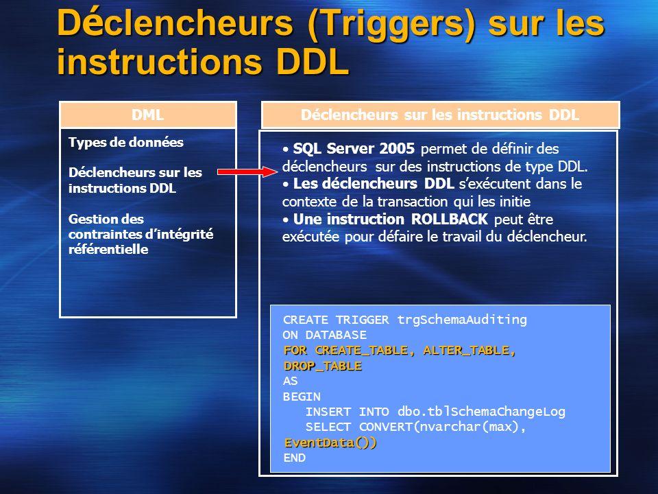 D é clencheurs (Triggers) sur les instructions DDL DML Types de données Déclencheurs sur les instructions DDL Gestion des contraintes dintégrité référ