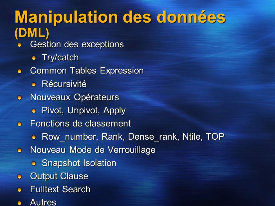 Manipulation des données (DML) Gestion des exceptions Try/catch Common Tables Expression Récursivité Nouveaux Opérateurs Pivot, Unpivot, Apply Fonctio