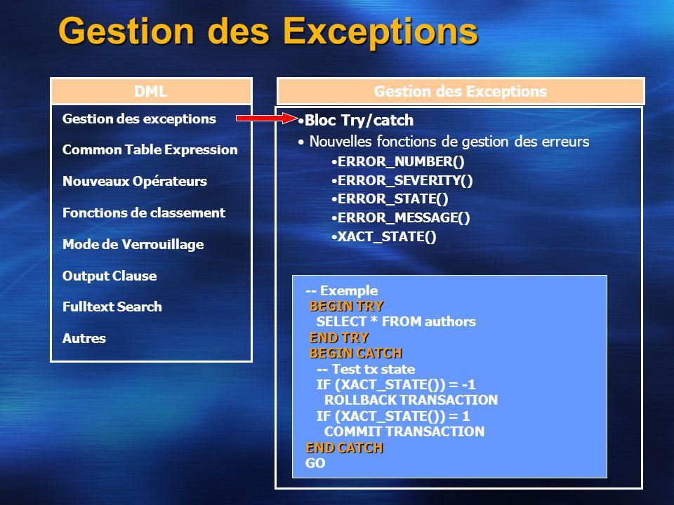 Gestion des Exceptions DMLGestion des Exceptions Bloc Try/catch Nouvelles fonctions de gestion des erreurs ERROR_NUMBER() ERROR_SEVERITY() ERROR_STATE
