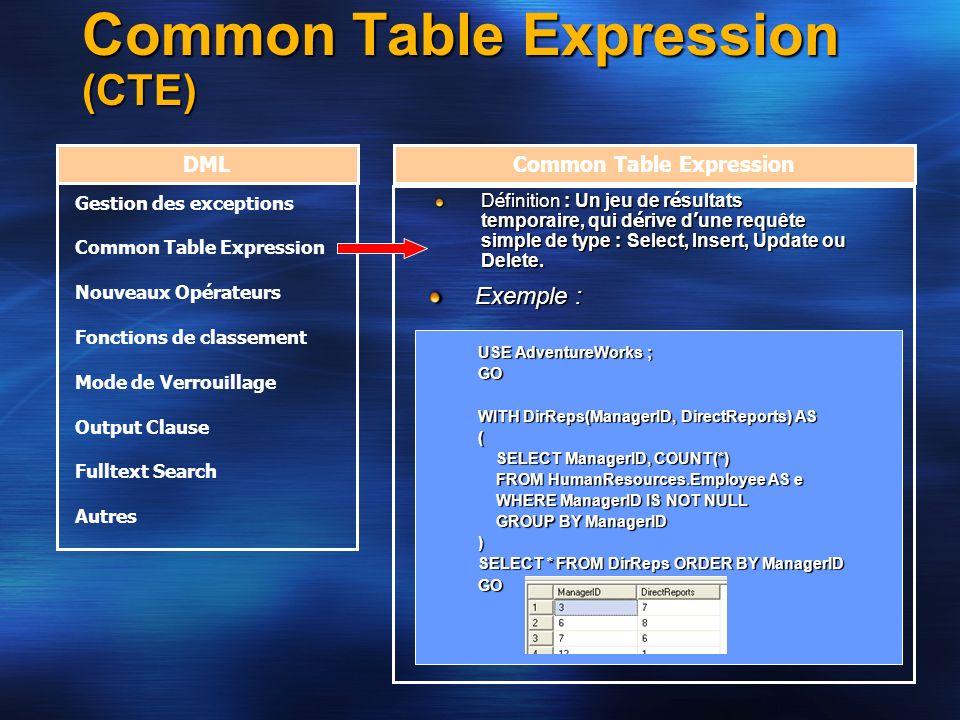 Common Table Expression (CTE) DMLCommon Table Expression D é finition : Un jeu de r é sultats temporaire, qui d é rive d une requête simple de type :