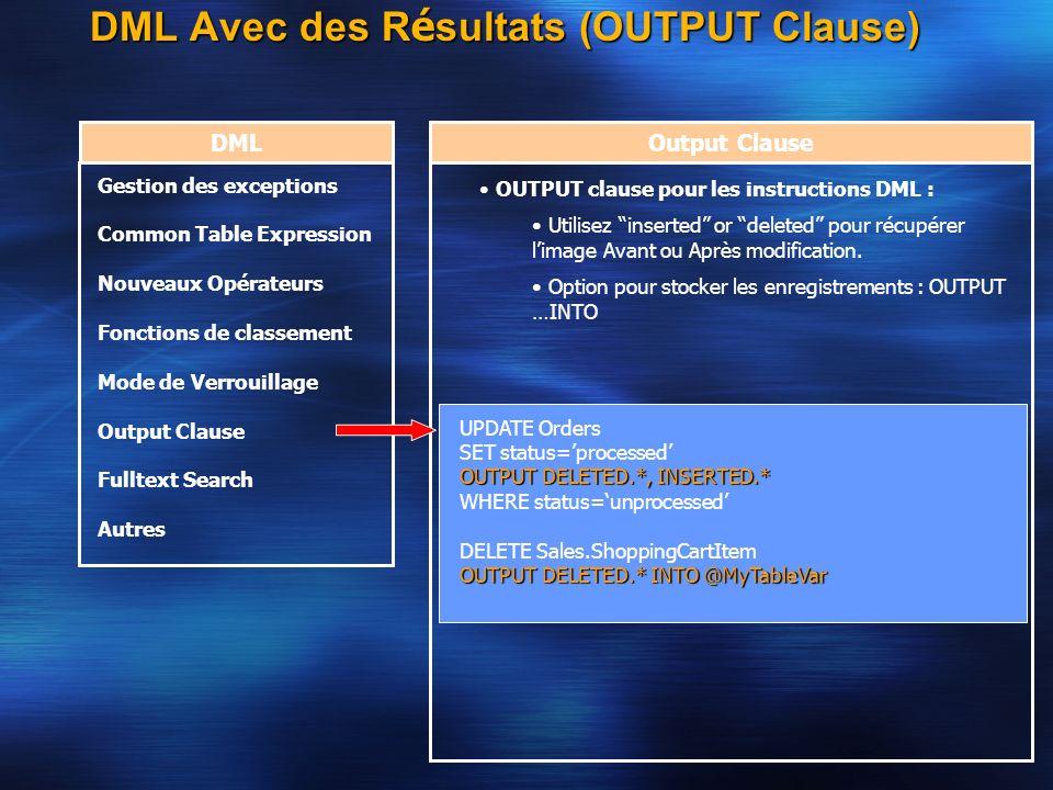 DML Avec des R é sultats (OUTPUT Clause) DMLOutput Clause OUTPUT clause pour les instructions DML : Utilisez inserted or deleted pour récupérer limage