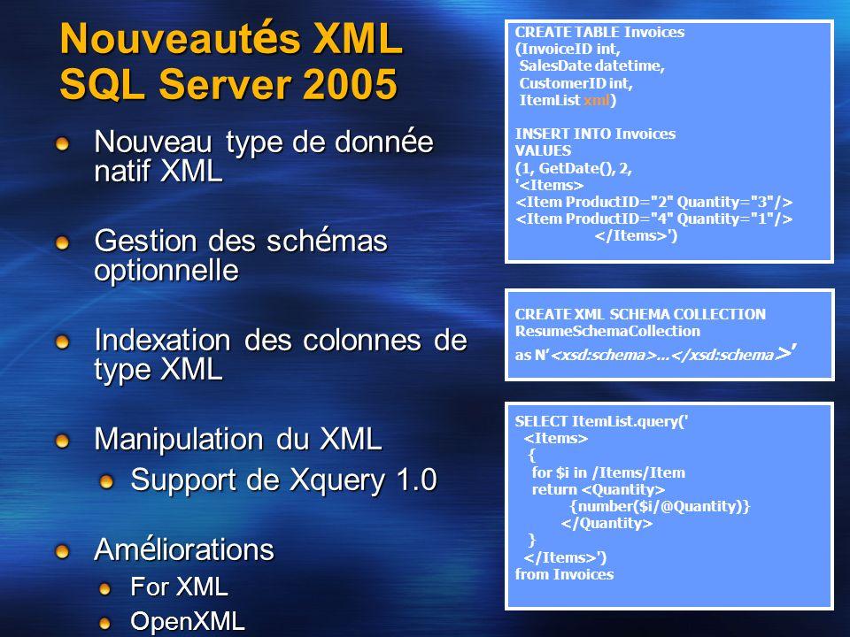 Nouveaut é s XML SQL Server 2005 Nouveau type de donn é e natif XML Gestion des sch é mas optionnelle Indexation des colonnes de type XML Manipulation