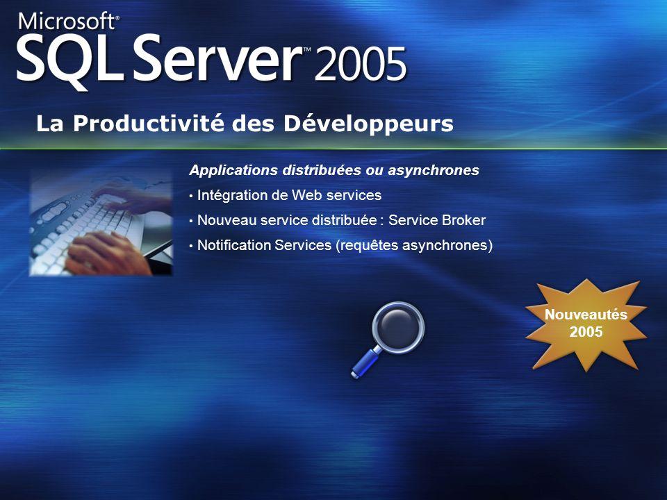 Nouveautés 2005 Applications distribuées ou asynchrones Intégration de Web services Nouveau service distribuée : Service Broker Notification Services