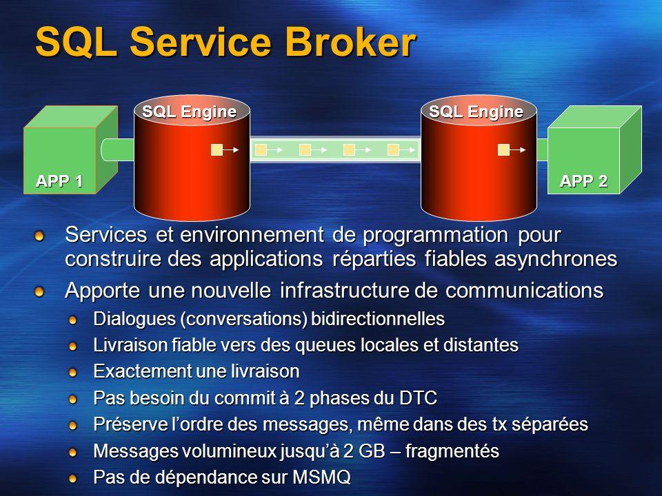 SQL Service Broker Services et environnement de programmation pour construire des applications réparties fiables asynchrones Apporte une nouvelle infr