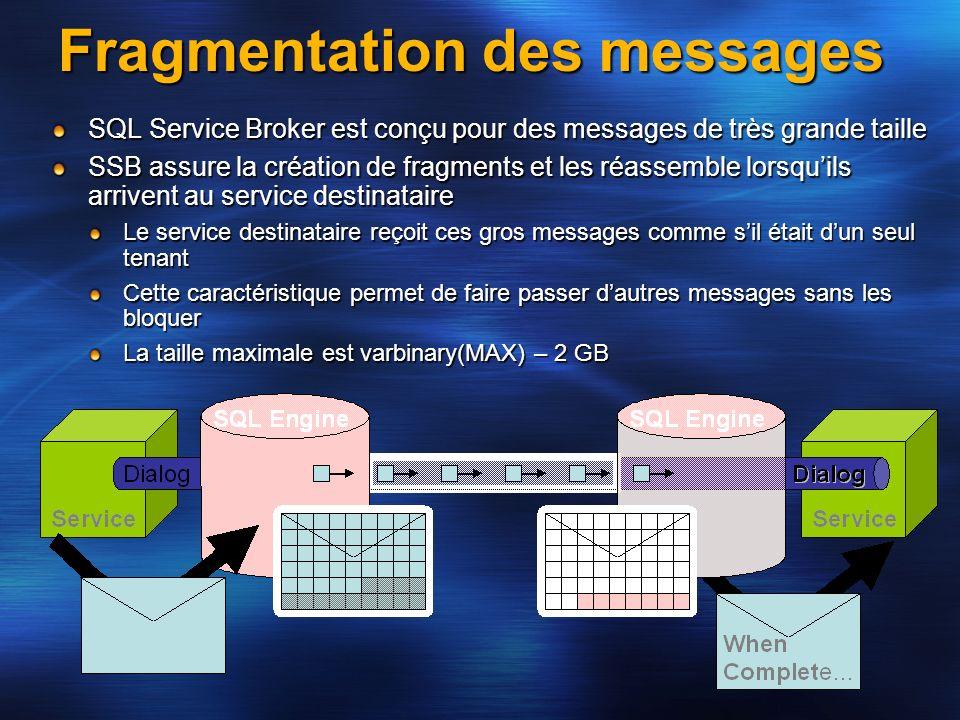 Fragmentation des messages SQL Service Broker est conçu pour des messages de très grande taille SSB assure la création de fragments et les réassemble