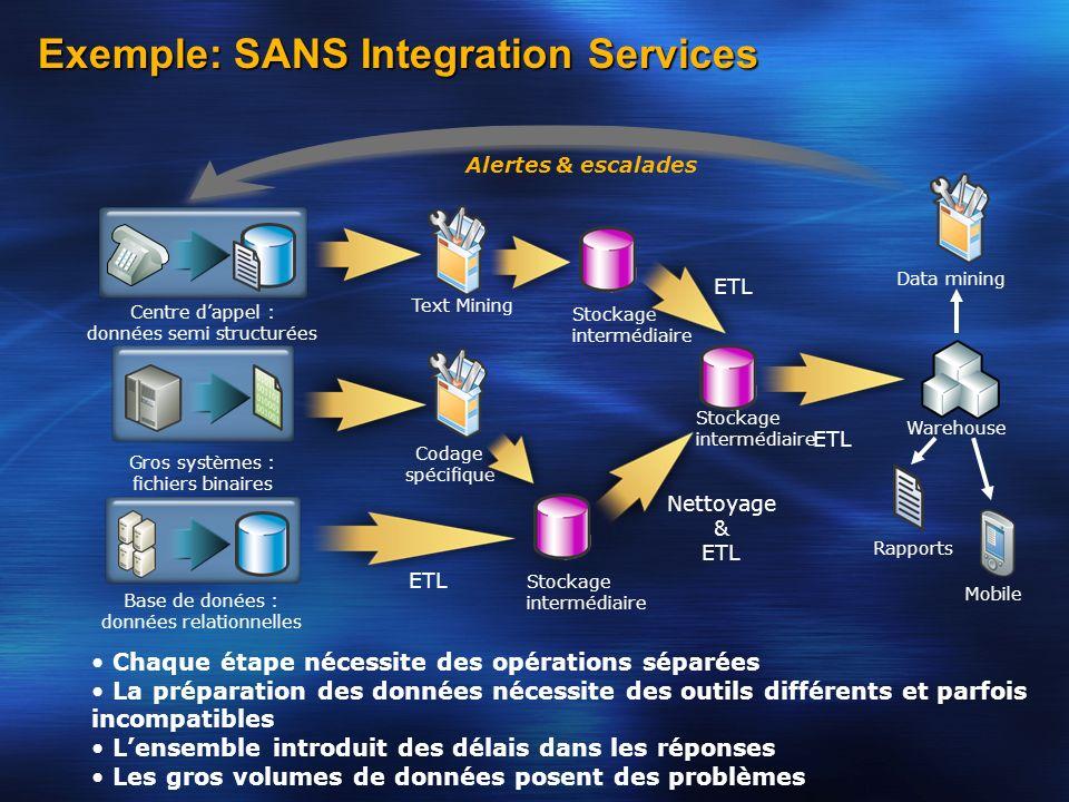 Exemple: SANS Integration Services Centre dappel : données semi structurées Gros systèmes : fichiers binaires Base de donées : données relationnelles