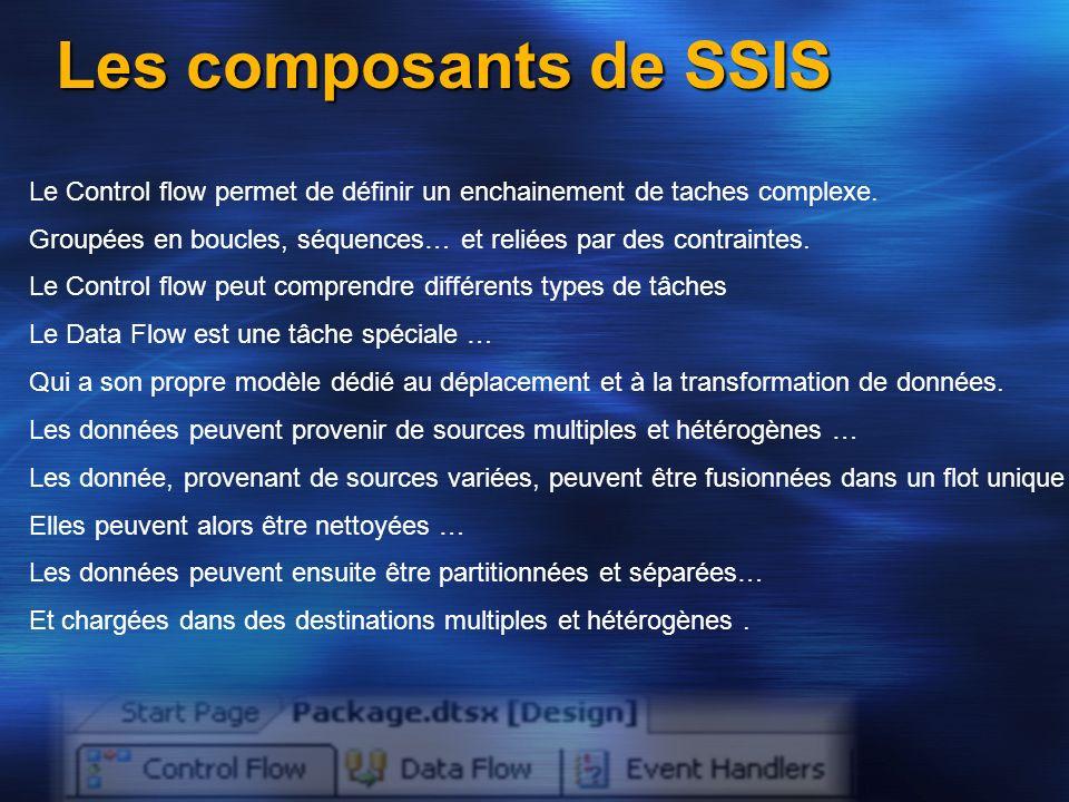 Les données peuvent ensuite être partitionnées et séparées… Les composants de SSIS Le Control flow permet de définir un enchainement de taches complex
