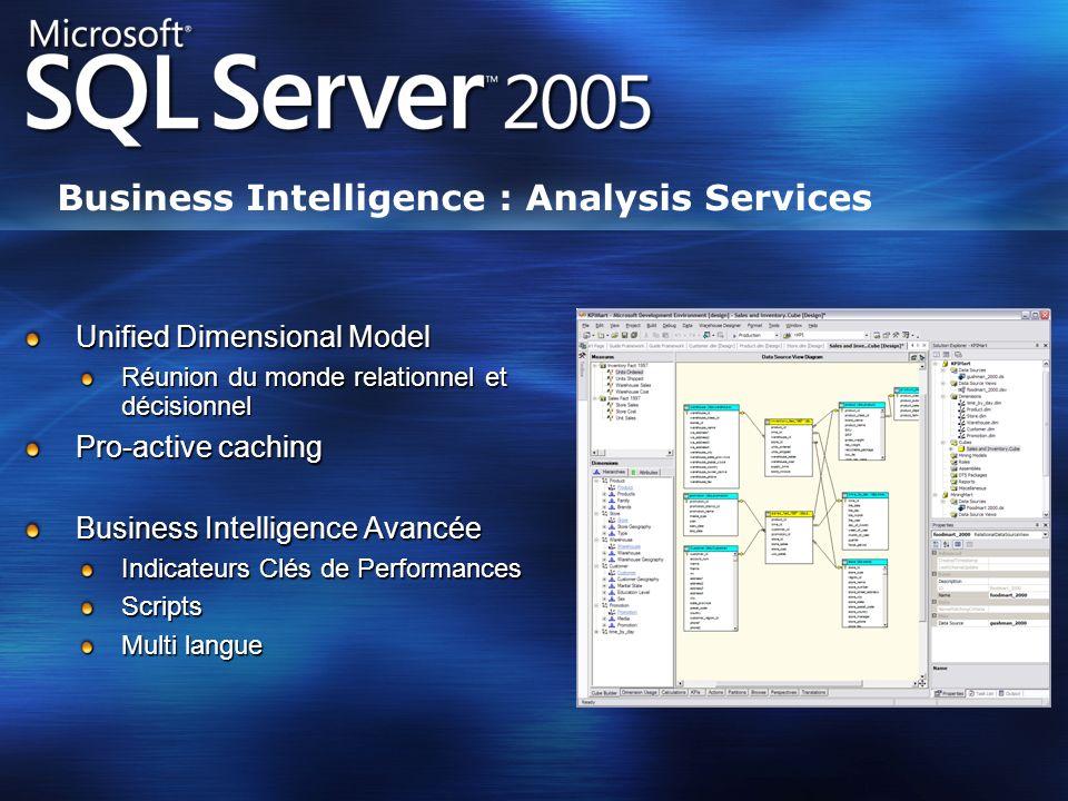 Business Intelligence : Analysis Services Unified Dimensional Model Réunion du monde relationnel et décisionnel Pro-active caching Business Intelligen