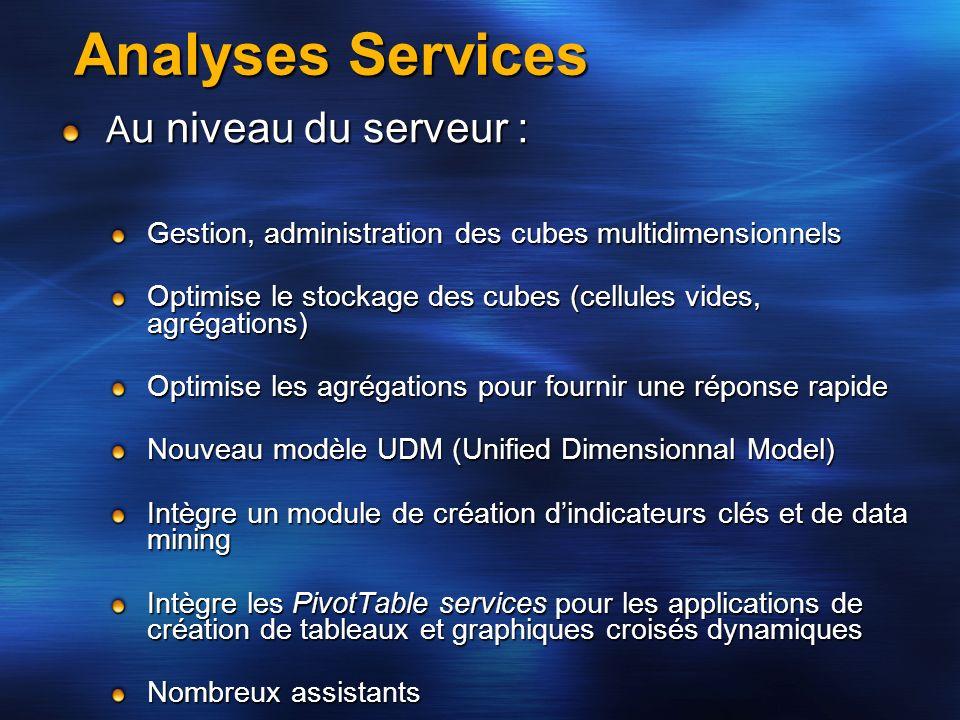Analyses Services A u niveau du serveur : Gestion, administration des cubes multidimensionnels Optimise le stockage des cubes (cellules vides, agrégat