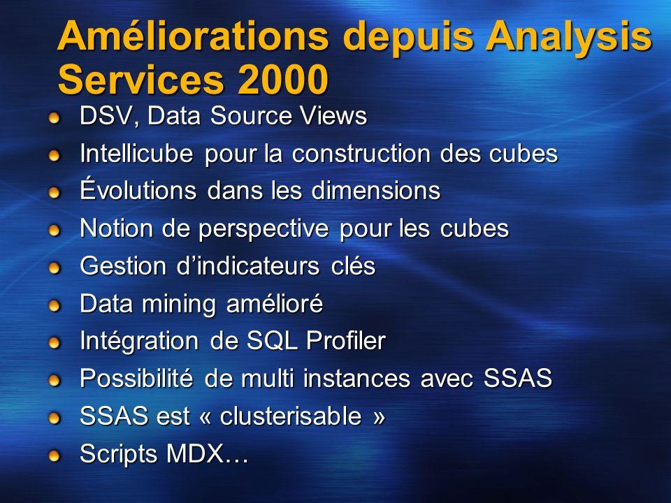 Améliorations depuis Analysis Services 2000 DSV, Data Source Views Intellicube pour la construction des cubes Évolutions dans les dimensions Notion de