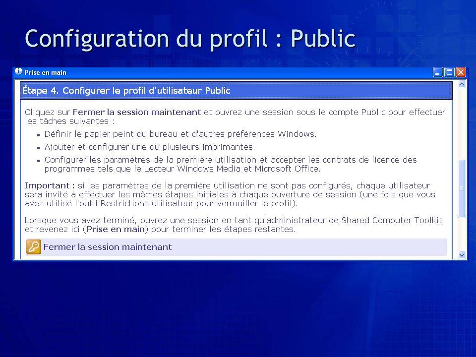 Configuration du profil : Public