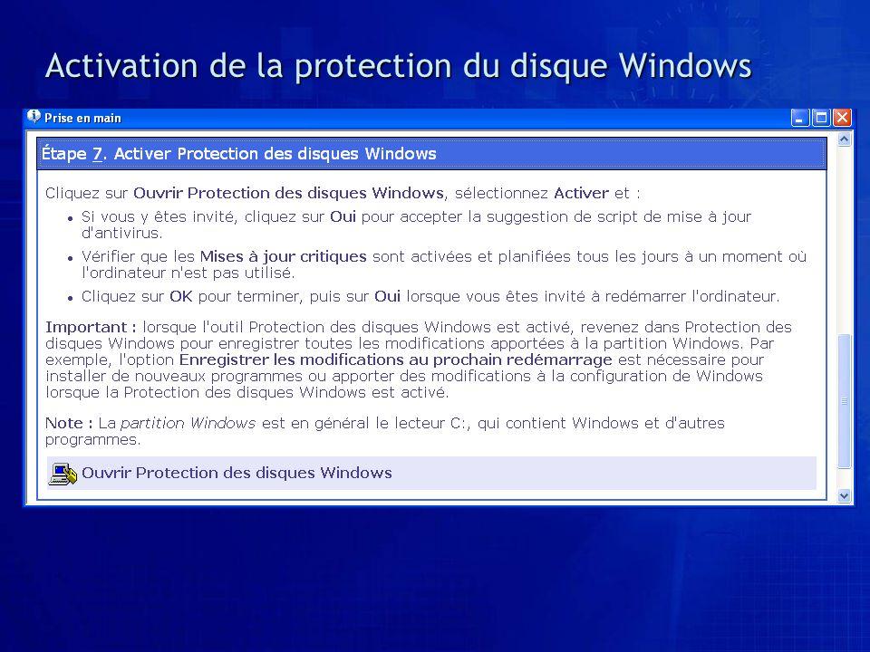 Activation de la protection du disque Windows