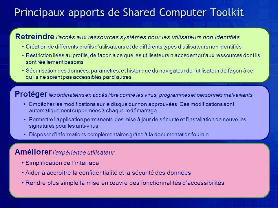 Principaux apports de Shared Computer Toolkit Protéger les ordinateurs en accès libre contre les virus, programmes et personnes malveillants Empêcher