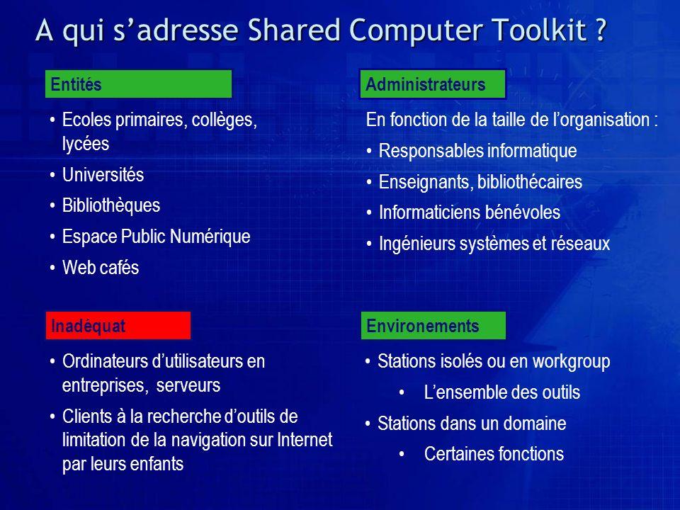 A qui sadresse Shared Computer Toolkit ? Ecoles primaires, collèges, lycées Universités Bibliothèques Espace Public Numérique Web cafés Entités En fon