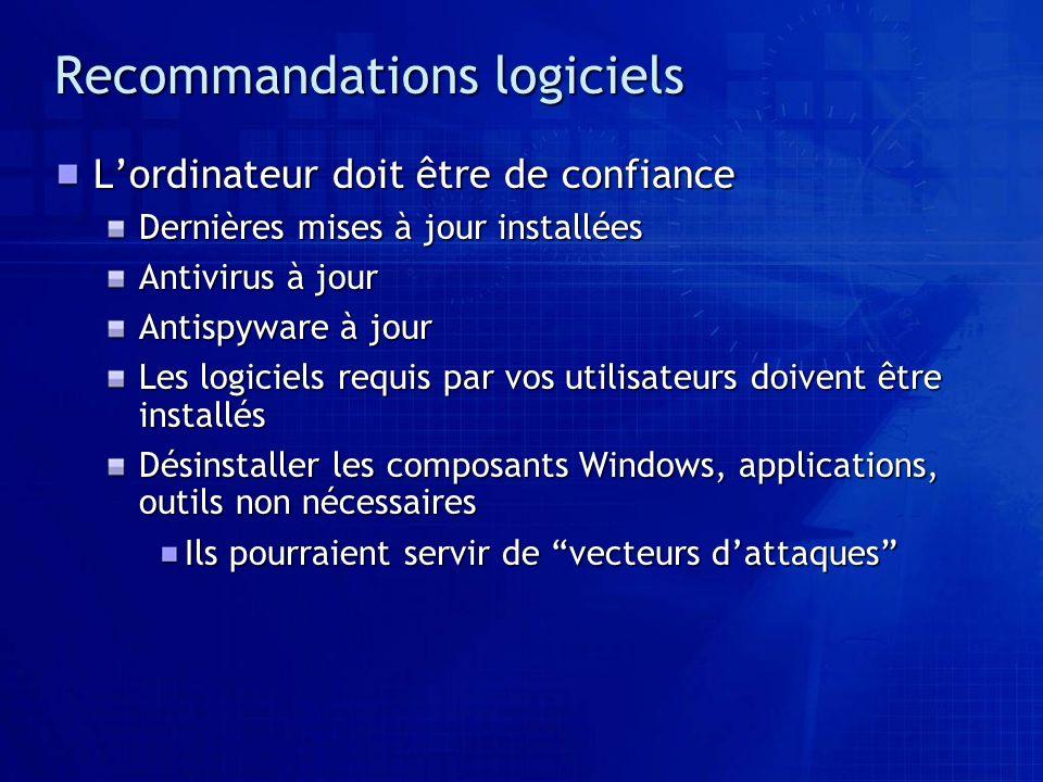 Recommandations logiciels Lordinateur doit être de confiance Dernières mises à jour installées Antivirus à jour Antispyware à jour Les logiciels requi
